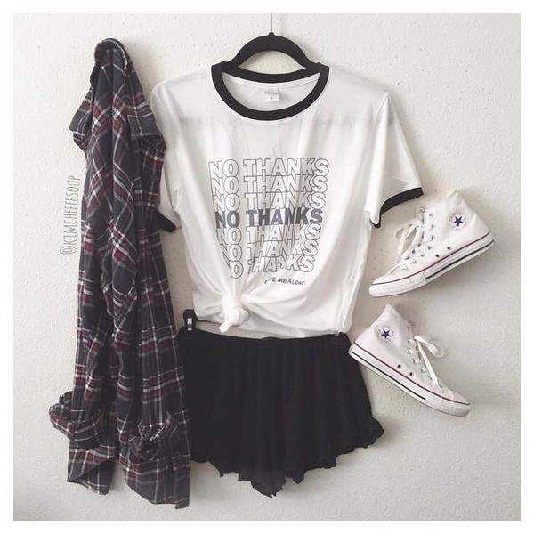 shirt no thanks tumblr sarcastic white black and white black converse top checkered shirt want this outfit t-shirt t shirt. tumblr outfit aesthetic cute outfits flannel white t-shirt cool teenagers shorts