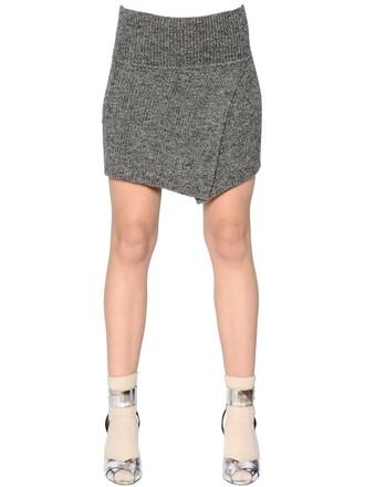 skirt knit wool grey heather grey