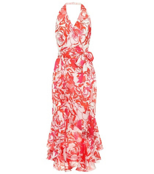Roberto Cavalli Floral-printed silk midi dress in red