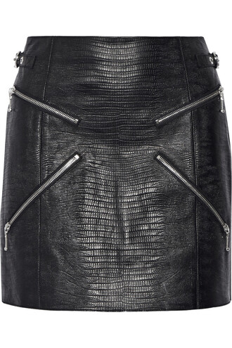 skirt mini skirt mini zip embellished leather black