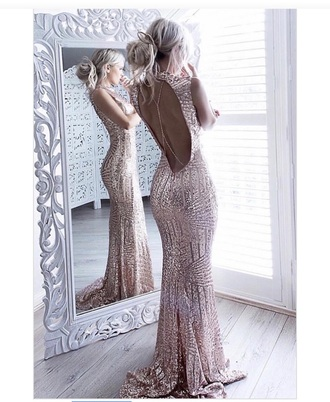dress rose gold backless glitz prom dresss
