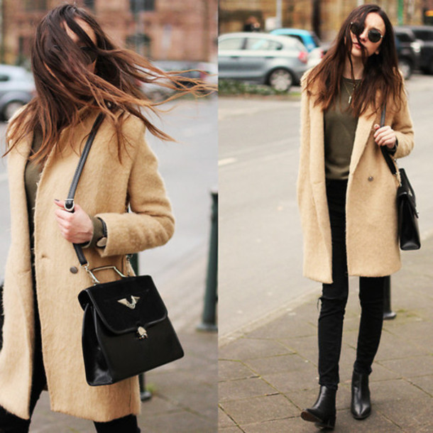 coat casual ankle boots black bag