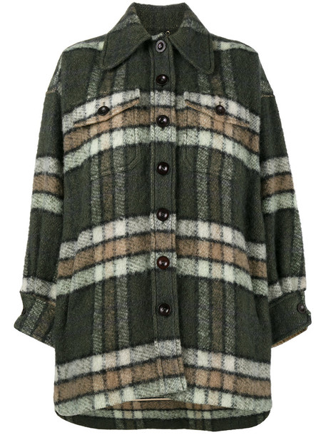 Chloe coat oversized women mohair cotton green