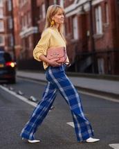 bag,pink bag,suede bag,pants,blue pants,tartan,sweater,yellow sweater,streetstyle
