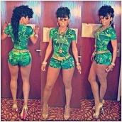 dress,green bodysuit,keyshia kaoir,shoes,belt,sunglasses,jewels,shorts,jumpsuit,romper,pant suit,bodysuit,tank top,sexy romper,clubwear