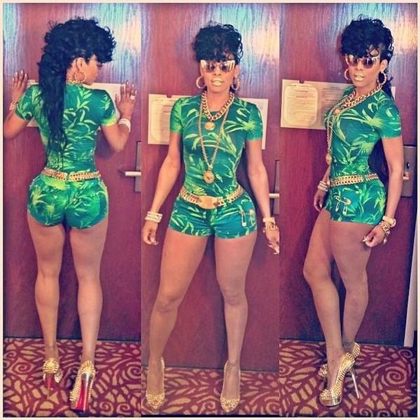 dress green bodysuit keyshia kaoir shoes belt sunglasses jewels shorts jumpsuit romper jumpsuit keyshia kaoir pant suit bodysuit tank top romper sexy romper clubwear