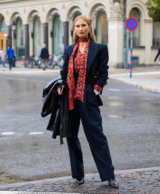 pants black coat leather coat stockholm fashion week streetstyle blue pants blazer blue blazer power suit two piece pantsuits coat shirt scarf