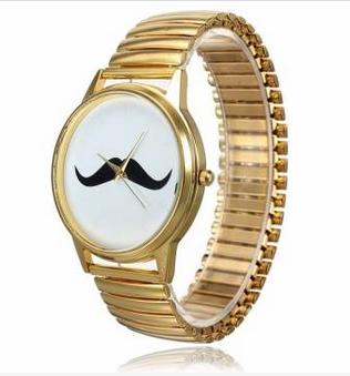 Gold stainless steel beard mustache wrist watch