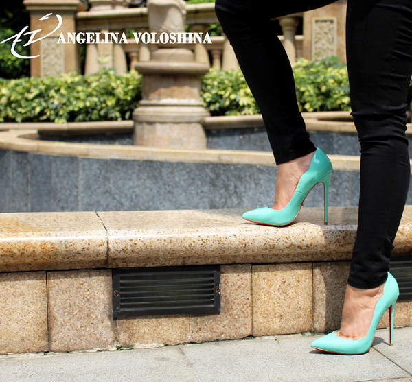 shoes blue shoes patent shoes tiffany blue teal stilettos pumps dress fashion pointed toe high heels