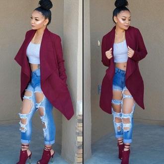 jacket burgundy trench coat red coat