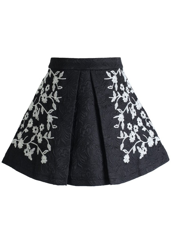 skirt chicwish floral embossed a-line pleated mini skirt