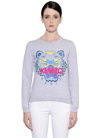 sweatshirt embroidered tiger cotton grey sweater