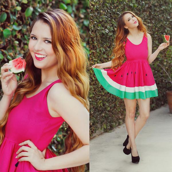 dress fruits watermelon print cute