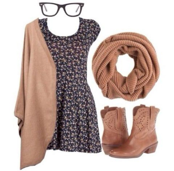 floral dress clothes fall outfits shoes scarf dress sweater