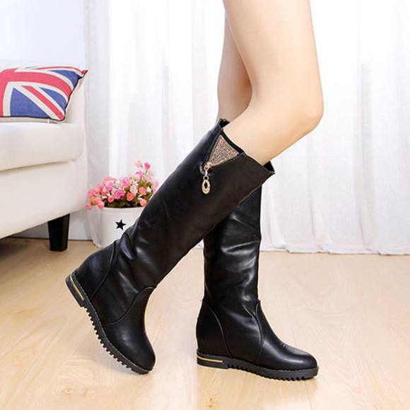 shoes boot flat fashion zipper