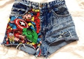 shorts,marvel,quote on it,blue,jeasn