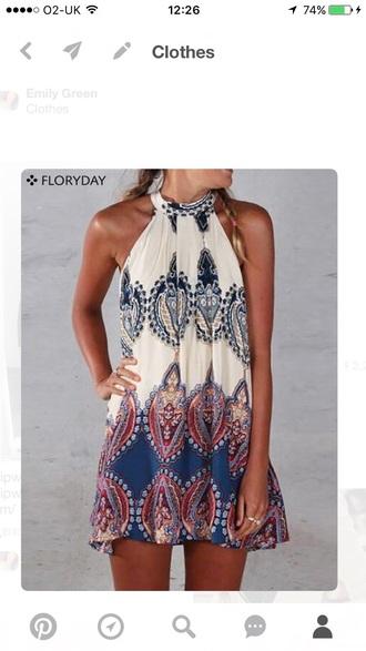 dress summer beach dress aztec pattern short short dress