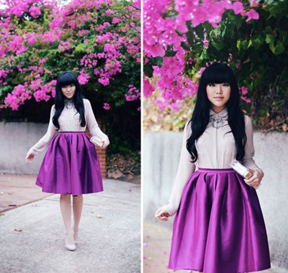 blouse vintage clothes purple where did u get that violet purple skirt long hair violet shirt knee skirt