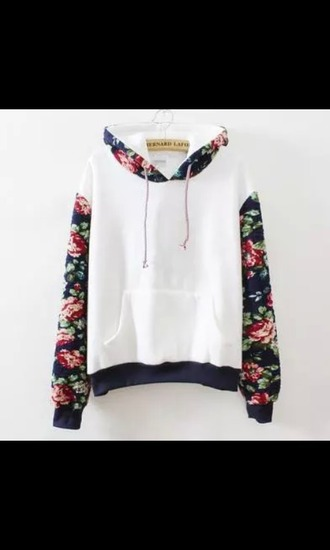 sweater flowers white girly print