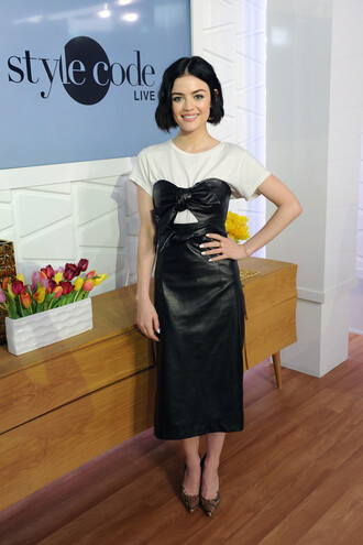 dress lucy hale pumps top midi dress leather dress strapless