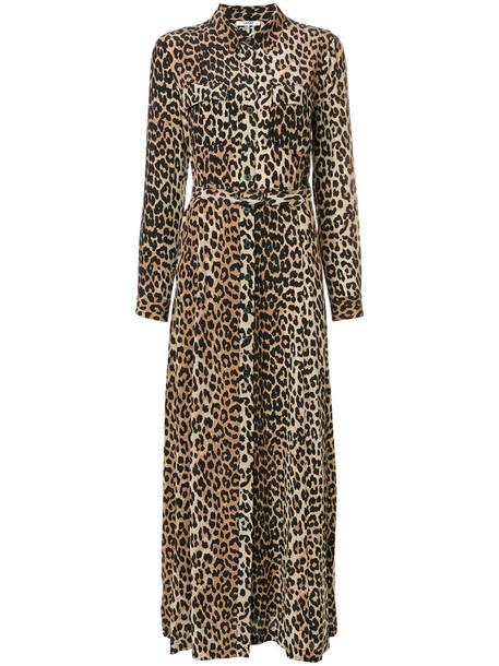 Ganni dress maxi dress maxi women nude print silk leopard print