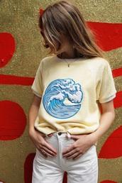 t-shirt,waves,tsunami,yellow,yellow top,summer top,lemongrass,wave,sea creatures,embellished,embroidered,sea,beach,golfs,blue,shirt,short sleeve