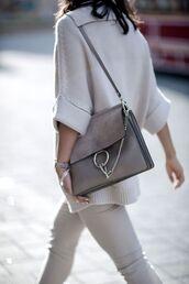 bag,all grey everything,All grey outfit,tumblr,chloe,chloe bag,chloe faye bag,grey bag,pants,grey pants,sweater,grey sweater