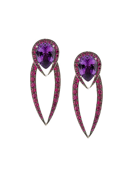 SHAUN LEANE women earrings gold white purple pink jewels