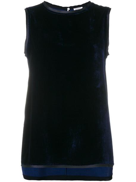 P.A.R.O.S.H. P.A.R.O.S.H. - sleeveless vest with trim - women - Silk/Polyester/Viscose - S, Blue, Silk/Polyester/Viscose
