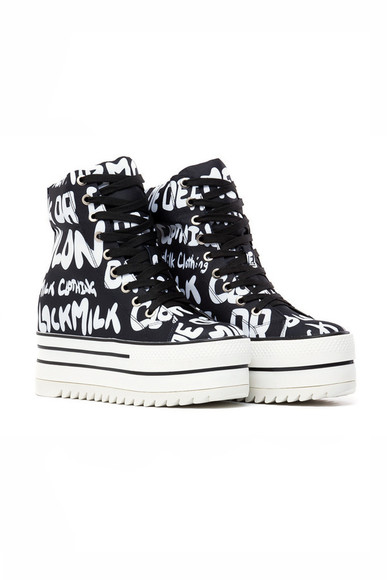 Black Milk shoes high top sneakers platform sneakers converse