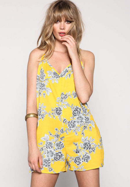 Yellow Floral Sketch Romper - Love Culture