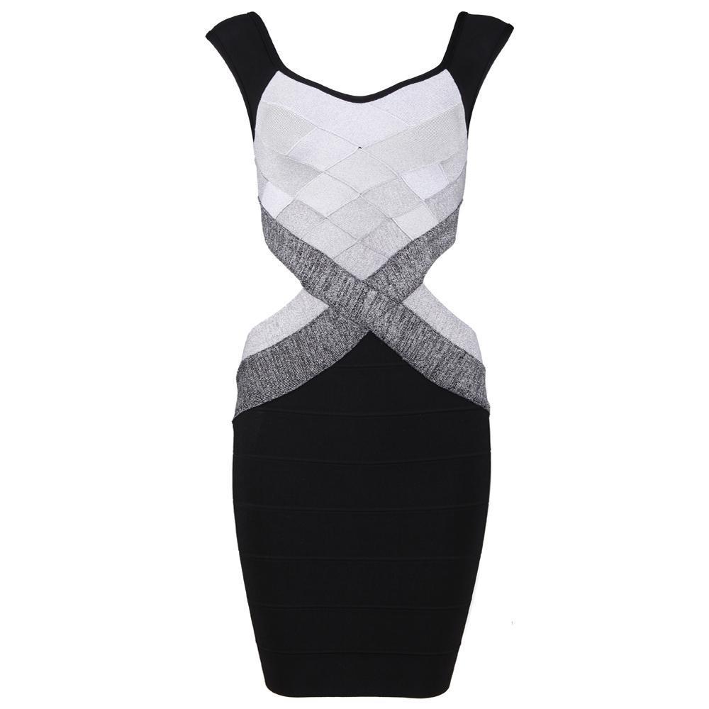 Multi Black Gray White Bandage Bodycon Pencil Midi Dress — GIRL CRUSH BOUTIQUE
