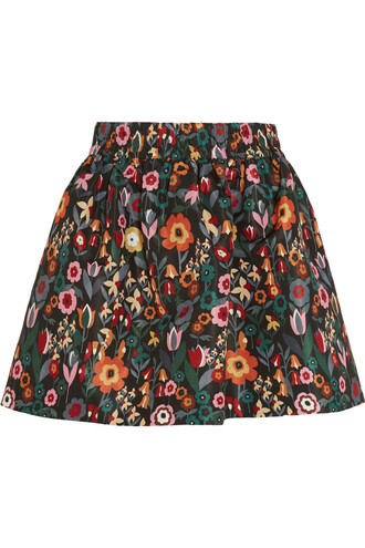 skirt mini skirt mini floral print black