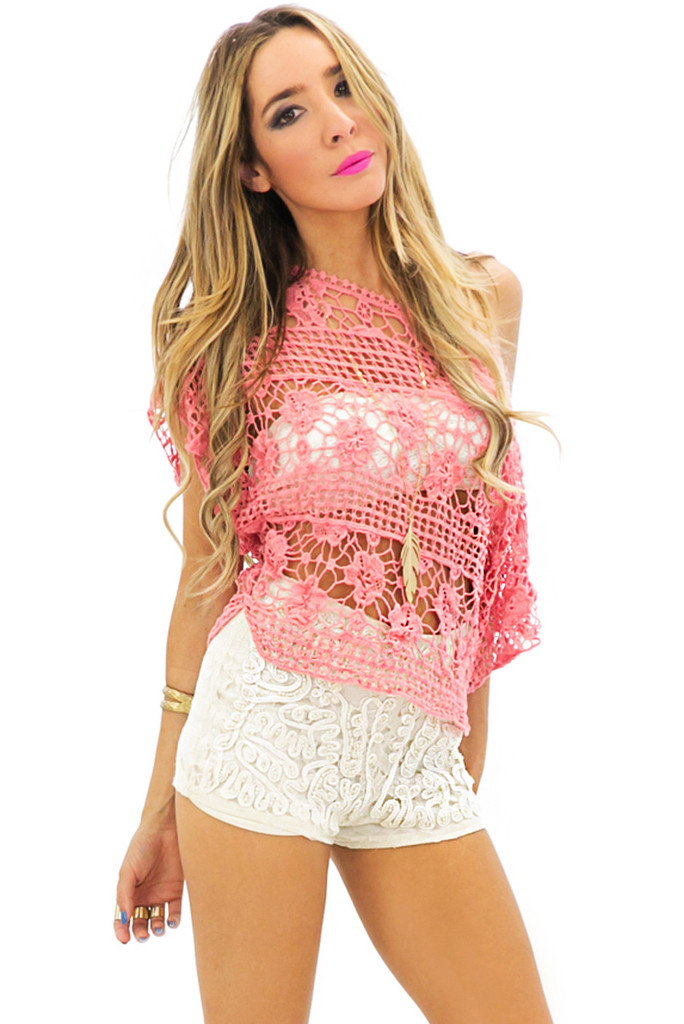 net crochet cropped top peach haute rebellious. Black Bedroom Furniture Sets. Home Design Ideas