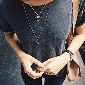 shirt jewels grey t-shirt brown bag style indie watch jeans black jeans earphones