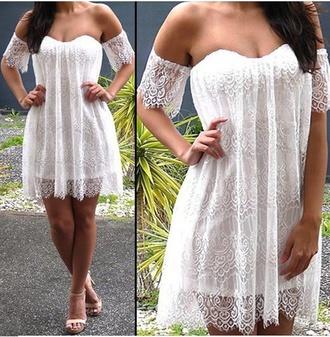 dress white white dress cute dress girly dress summer dress beautiful dress