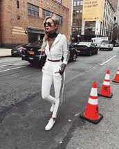 pants,tumblr,white pants,button side striped off the shoulder shirt dress,joggers,tracksuit,hoodie,white hoodie,sneakers,matching set,white sneakers,top,mesh,mesh top,see through top,see through,sunglasses,aviator sunglasses