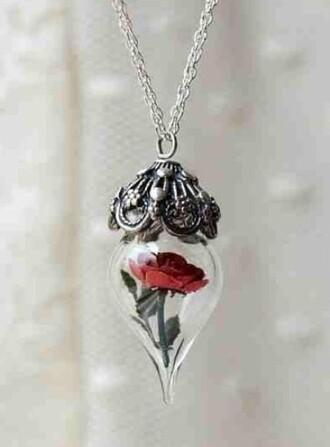 necklace flowers tear drop jewels beauty and the beast silver belle et la bête magical cursed pendant disney princess red necklace home accessory beautiful rose love style scrapbook style girl girly girly wishlist instagram tumblr