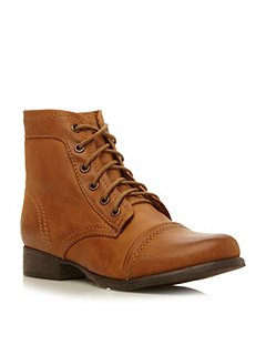 Steve Madden Tundra lace up ankle boots Tan - House of Fraser