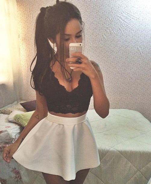 top skirt lace top black crop top cute top