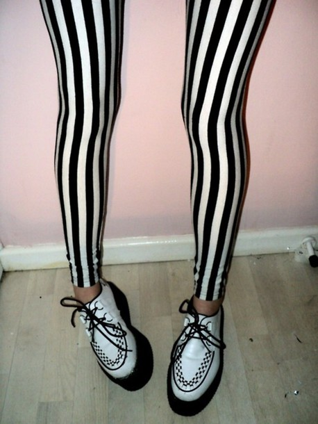 pants leggings beetlejuice stripes