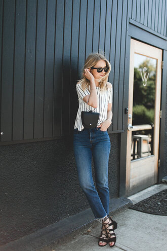 top black sandals tumblr off the shoulder off the shoulder top stripes striped top denim jeans blue jeans sandals sandal heels shoes bag