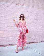 laminlouboutins,blogger,jumpsuit,shoes,sunglasses,ruffle jumpsuit,pink jumpsuit,clutch,spring outfits