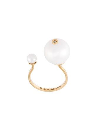 diamond ring metallic women pearl ring jewels