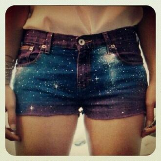 shorts blue purple white galaxy cuttoff