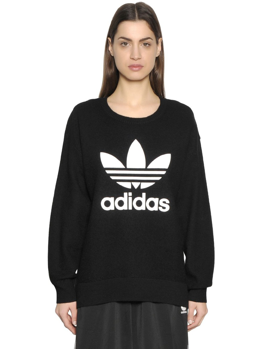Adidas Originals three stripes printed sweatshirt, Women's, Size ...
