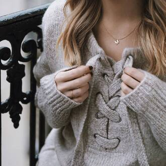 sweater tumblr grey sweater lace up lace up jumper necklace gold jewelry gold necklace nail polish nails jewels jewelry initial necklace letters dainty  necklace dainty jewelry
