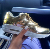 shoes,nike shoes,gold,nike,nike air,gold shoes,white,air max,white nail polish,tumblr,nike air max 1,nike air max 90