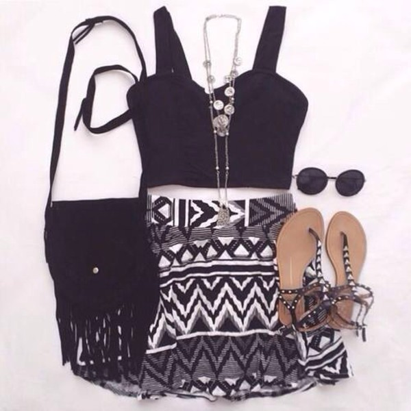 skirt aztec print blouse bag top nail accessories