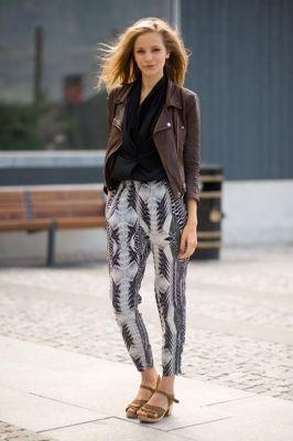 H&m printed tribal carrot harem skinny pants trousers 6